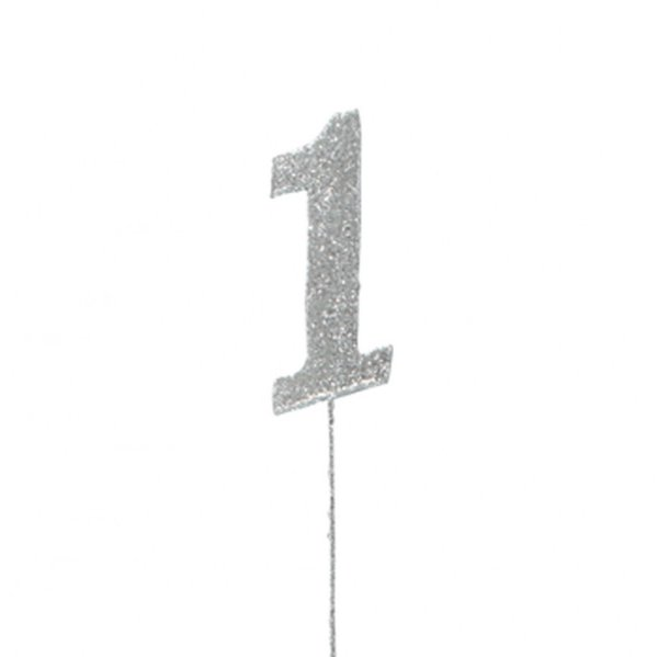 1 Glitter Number Pic Topper - Silver