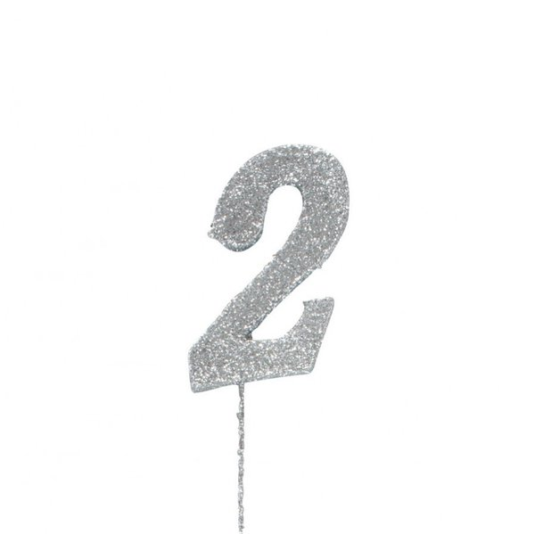 2 Glitter Number Pic Topper - Silver