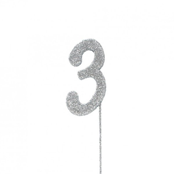 3 Glitter Number Pic Topper - Silver
