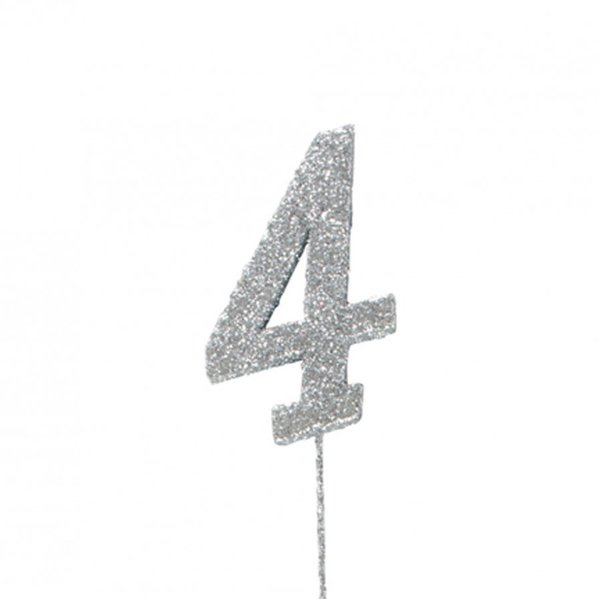 4 Glitter Number Pic Topper - Silver