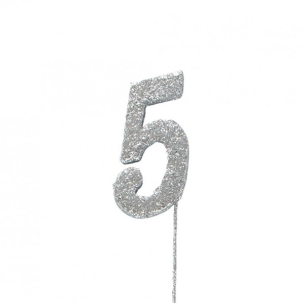 5 Glitter Number Pic Topper - Silver