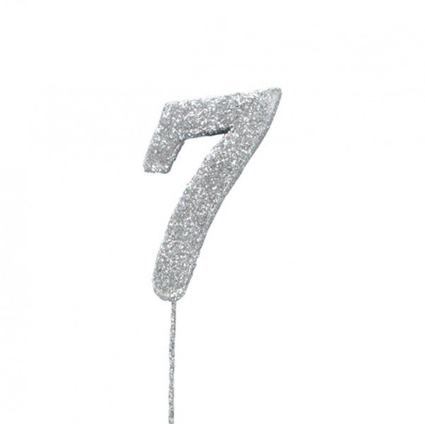 7 Glitter Number Pic Topper - Silver