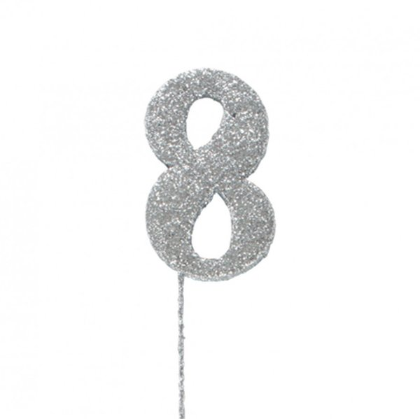 8 Glitter Number Pic Topper - Silver