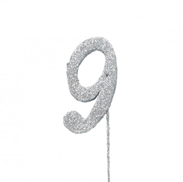 9 Glitter Number Pic Topper - Silver