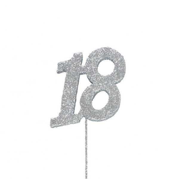 18 Glitter Number Pic Topper - Silver