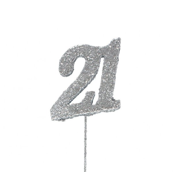 21 Glitter Number Pic Topper - Silver