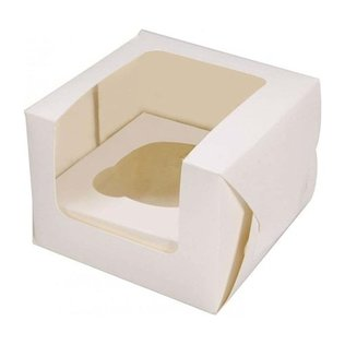 1 Hole Cupcake Box - White