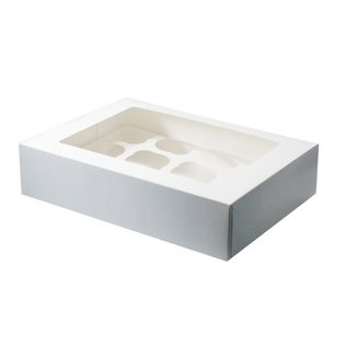 12 Hole Cupcake Box - White