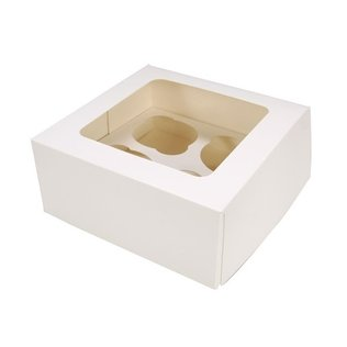 4 Hole Cupcake Box - White