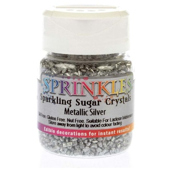 Rainbow Dust – Metallic Silver Sprinkles Sugar Crystals