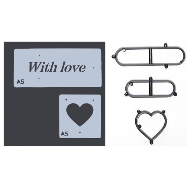 Patchwork Cutters - With Love - Stencil & Cutter Set